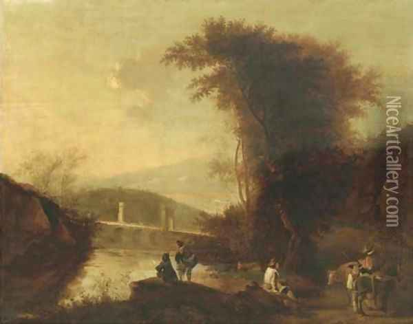 A mountainous river landscape with herdsmen and travellers on a path near a bridge Oil Painting - Jan Both