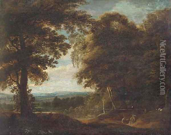 A wooded landscape with travellers at rest Oil Painting - Jan Both