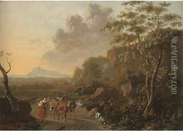 An Italianate mountainous landscape with herdsmen on a path Oil Painting - Jan Both