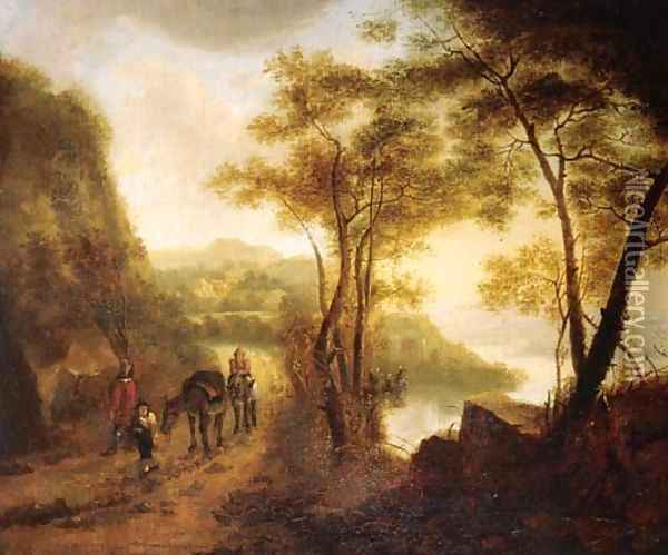 Travellers on a path overlooking a valley in an Italianate landscape Oil Painting - Jan Both