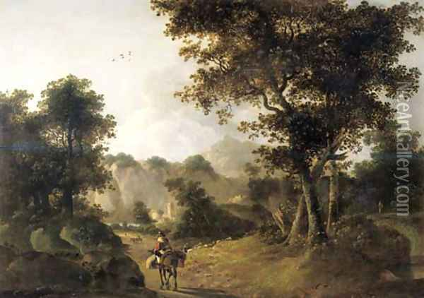 A muleteer on a track in an Italianate landscape Oil Painting - Jan Both