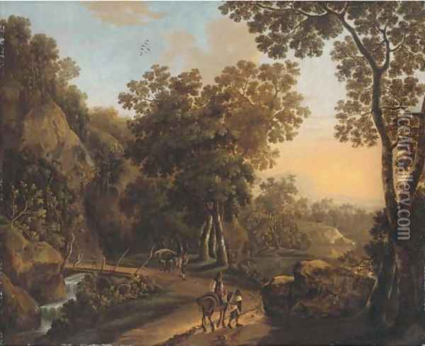 A wooded landscape with travellers on a hillside track Oil Painting - Jan Both