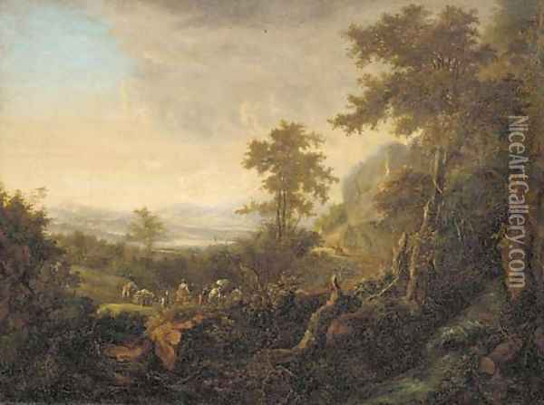 An extensive river landscape with travellers on a hillside path Oil Painting - Jan Both