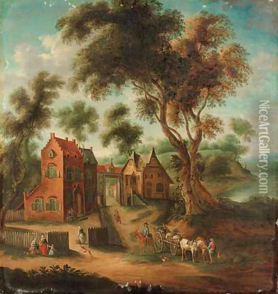 A wooded landscape with figures and a horse and cart before a hamlet Oil Painting - Joseph van Bredael