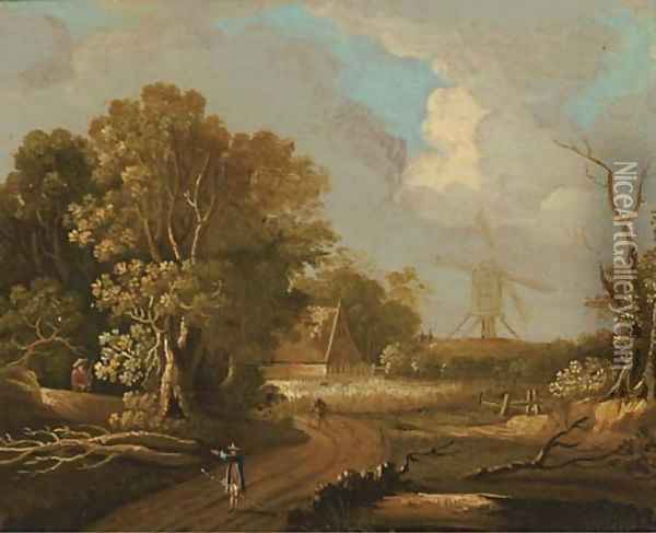 A wooded landscape with travellers on a track, a windmill beyond Oil Painting - Joseph van Bredael