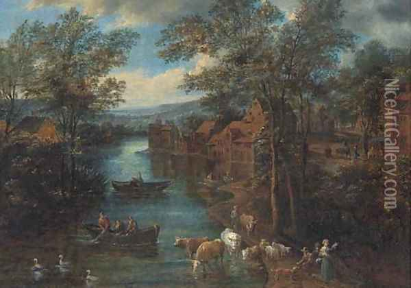 A wooded river landscape with fisherman and peasants on a track Oil Painting - Joseph van Bredael