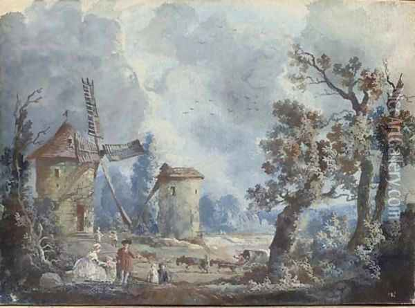 Figures in a stormy landscape with windmills; and Figures in a landscape with a donkey drinking at a fountain Oil Painting - Louis Nicolael van Blarenberghe