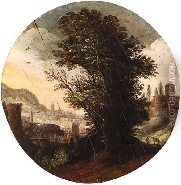 A wooded Landscape with an imaginary Classical City beyond Oil Painting - Paul Bril