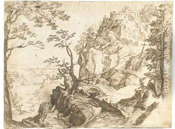 A mountain landscape with a fortified chapel Oil Painting - Paul Bril