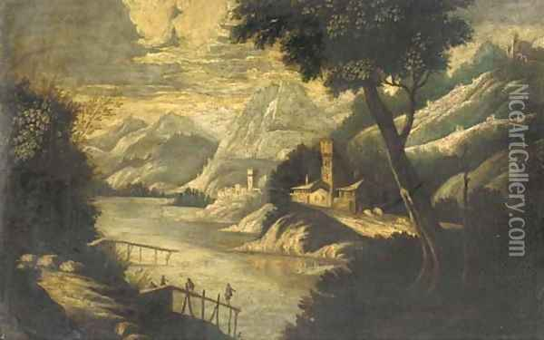A mountainous river landscape with figures on a pier and fortified towns beyond Oil Painting - Paul Bril
