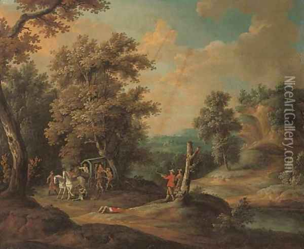 A wooded river landscape with brigands ambushing a carriage Oil Painting - Paul Bril