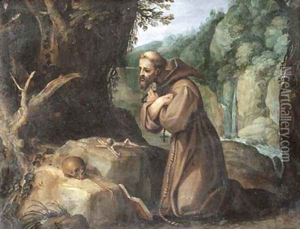Saint Francis in the wilderness Oil Painting - Paul Bril