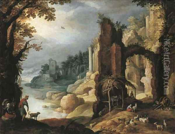 A classical river landscape with herdsmen and goats resting amongst ruins Oil Painting - Paul Bril