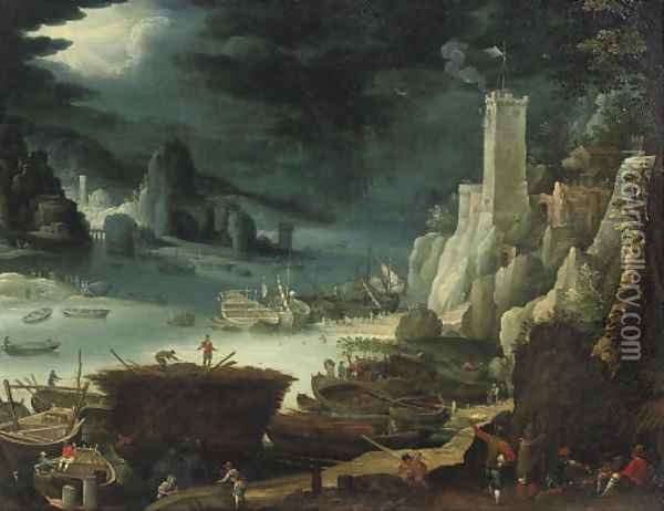 A harbour scene with soldiers sitting around a fire, figures at work on their boats nearby Oil Painting - Paul Bril