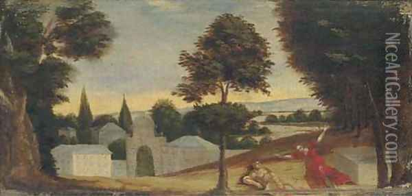A wooded landscape with Pyramus and Thisbe Oil Painting - Paul Bril