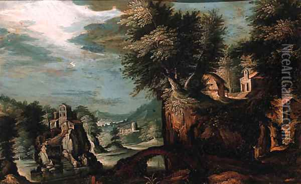 Cottages on a cliff overlooking a valley with a castle on a rock beyond Oil Painting - Paul Bril