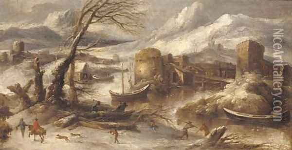 An Italianate winter landscape with fishermen by a river Oil Painting - Willem Von Bemmel