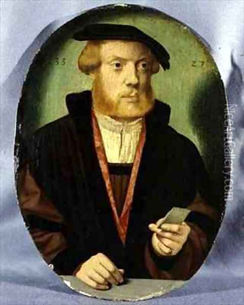 A Portrait of a Young Man Wearing a Fur Lined Cape Oil Painting - Bartholomaeus, the Elder Bruyn