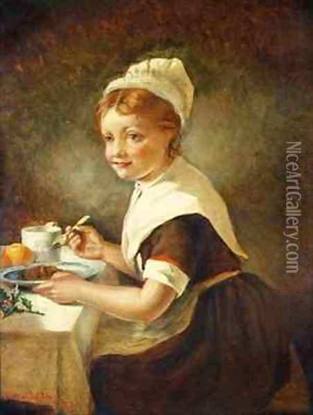 Foundling girl at Christmas Dinner Oil Painting - Emma Brownlow