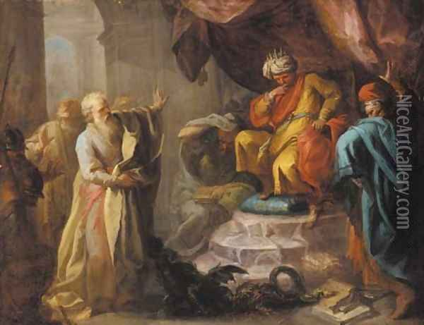 Moses and Aaron before Pharoah Oil Painting - Pietro Bardellino