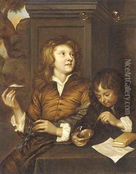 Two boys blowing bubbles from oyster shells Oil Painting - Arnold Boonen