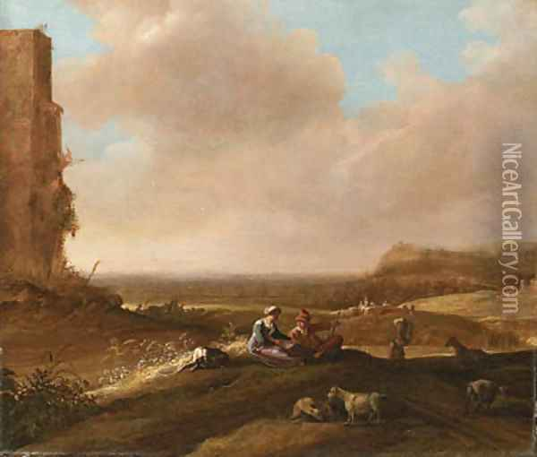 A Shepherd and Shepherdess with a Dog and Sheep in an extensive Landscape Oil Painting - Bartholomeus Breenbergh