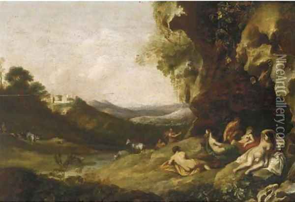 A classical landscape with nymphs and satyrs in a grotto Oil Painting - Bartholomeus Breenbergh