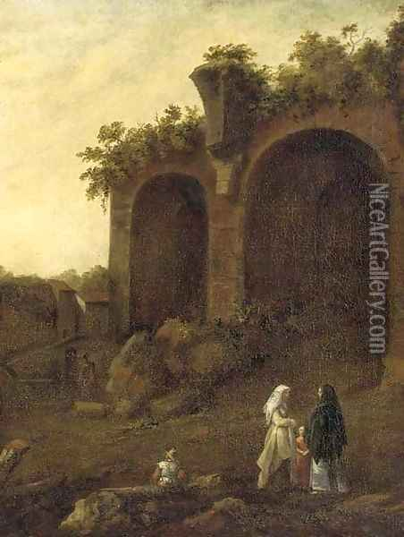 Figures conversing before classical ruins Oil Painting - Bartholomeus Breenbergh