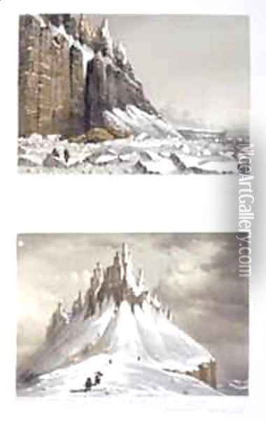 N.E. Cape of America and part of Leopold Island (top) and Termination of the Cliffs near Whaler Point, Port Leopold (bottom) Oil Painting - Browne, William Henry