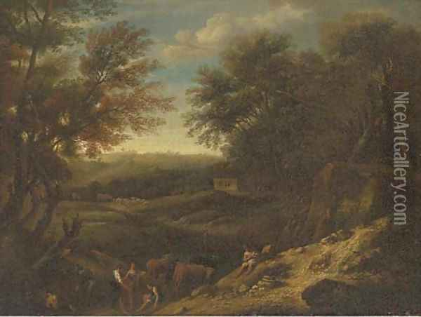 A wooded landscape with drovers and cattle at rest by a pond Oil Painting - Christian Hilfgott Brand