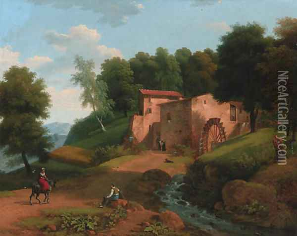 A watermill in a wooded landscape Oil Painting - Jean-Victor Bertin