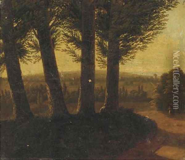 A wooded landscape at dusk with a figure smoking a pipe Oil Painting - Jean-Victor Bertin
