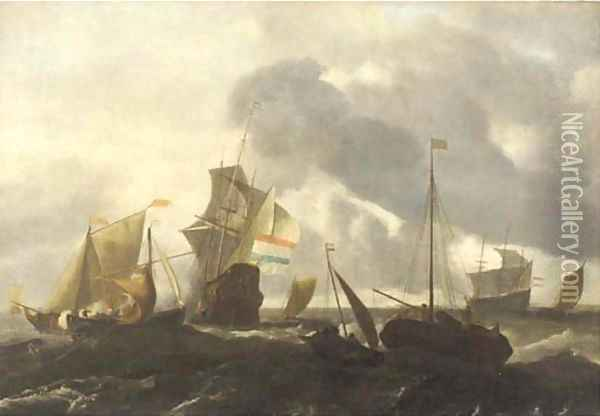 A Dutch man'o-war and other shipping in choppy seas Oil Painting - Ludolf Backhuizen