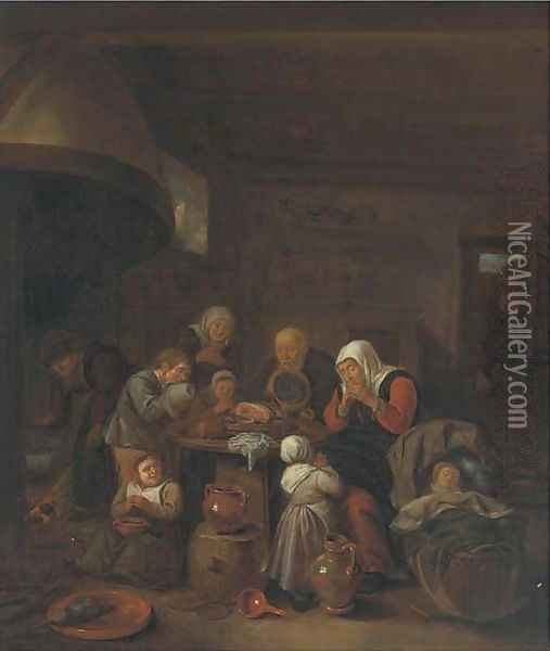 A kitchen interior with a peasant family praying before a meal Oil Painting - Richard Brakenburgh