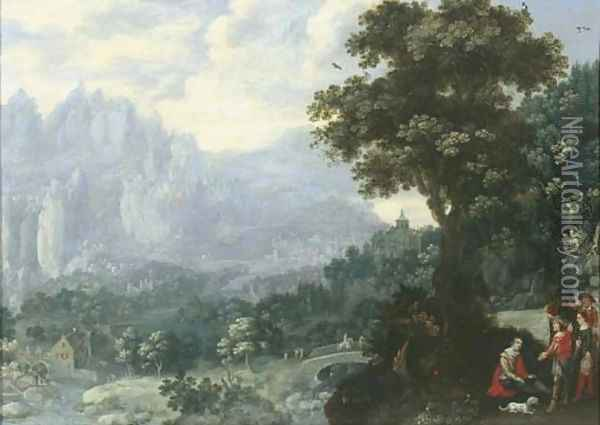 An extensive river landscape with soldiers resting by a tree, a mill and mountains beyond Oil Painting - Hans Bergaigne
