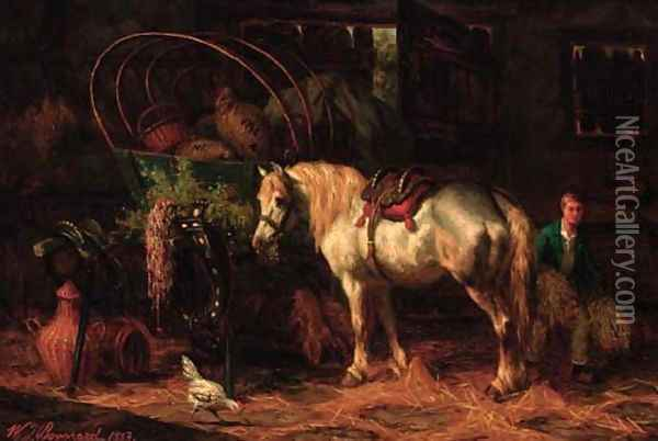 A Cart horse in a barn Oil Painting - Willem Jacobus Boogard