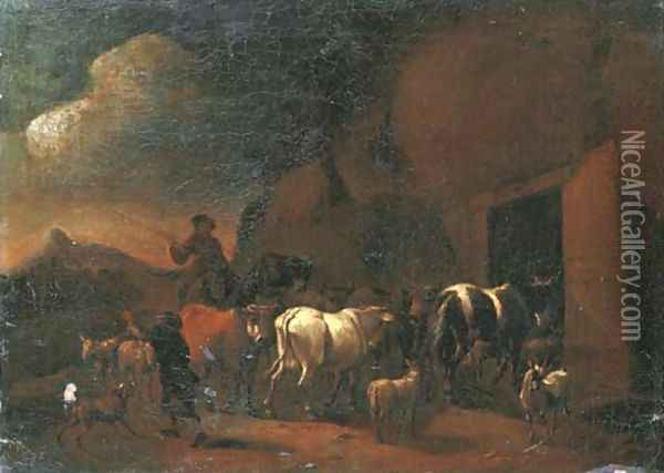 Shepherds returning to the stable with their cattle at dusk Oil Painting - Abraham Jansz. Begeyn