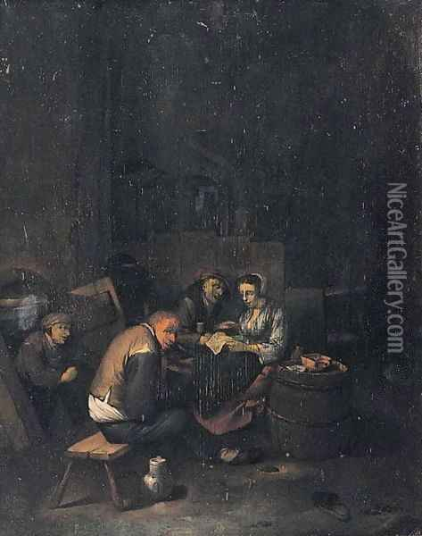 Peasants reading a letter in a tavern Oil Painting - Cornelis (Pietersz.) Bega