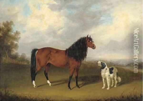 A chestnut horse with a dog in an extensive landscape Oil Painting - Edmund Bristow