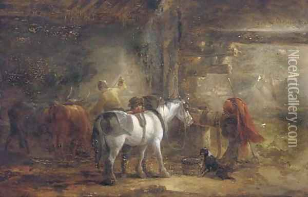 In the stable yard Oil Painting - Edmund Bristow