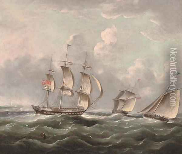 Ships of the Royal Navy running up the coast passing a headland Oil Painting - James E. Buttersworth