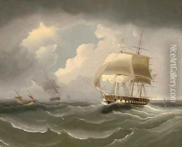 A frigate running down the Channel Oil Painting - James E. Buttersworth
