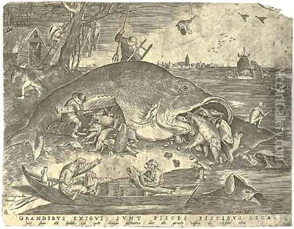 The large Fishes devouring the small Fishes, by P. Van der Heyden Oil Painting - Pieter the Elder Bruegel