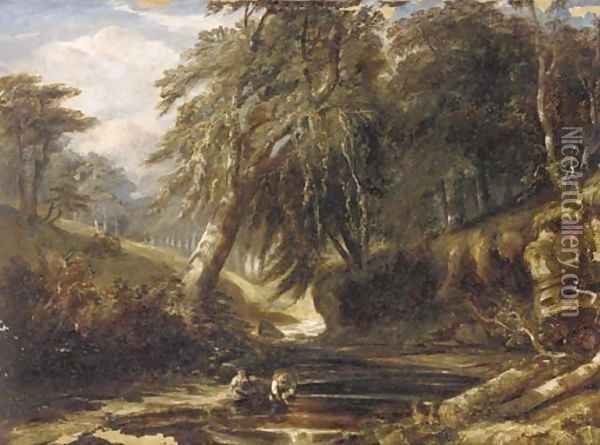 Children playing by the River Kelvin, Scotland Oil Painting - Samuel Bough