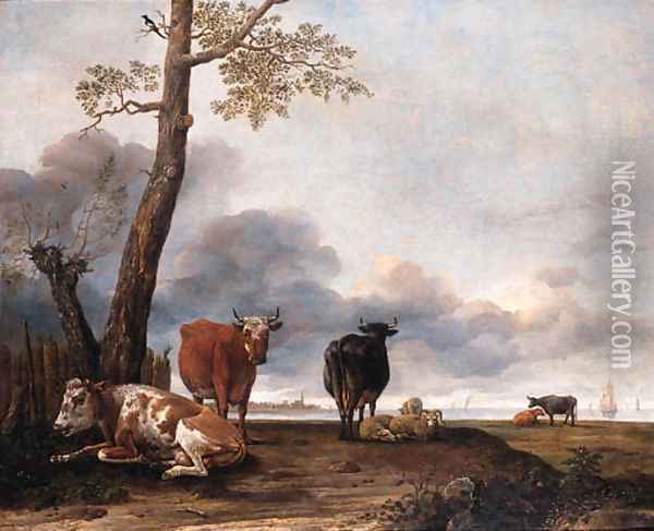 Cattle and sheep by a tree on a river bank, shipping beyond Oil Painting - Anthonie Cornelisz. Van Borssom