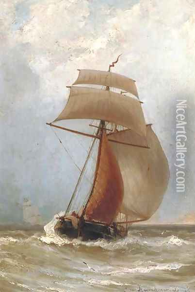 A Kofschip in full sail Oil Painting - Jacob Eduard Van Heemskerck Van Beest