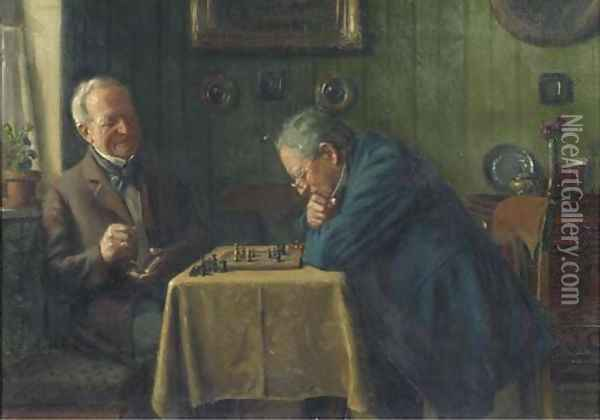 Head-to-head a game of chess Oil Painting - Max Barascudts