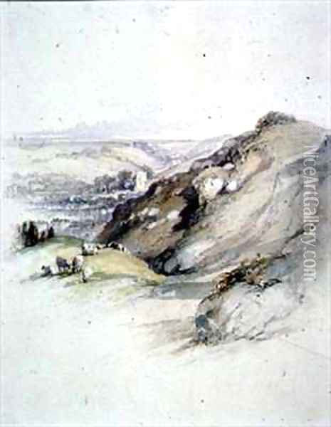 Rocks at Hastings, view from the East Cliff Oil Painting - Robert Brandard
