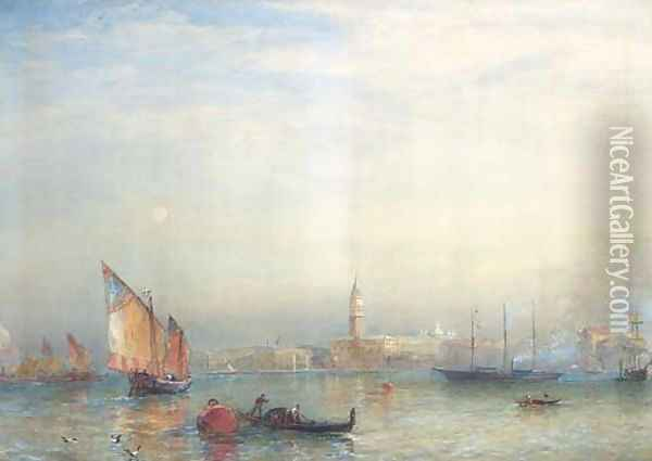 A view across the Venetian Lagoon, with the English steam yacht Cuhona announcing her arrival with a flaghoist Oil Painting - Sir Oswald Walters Brierly