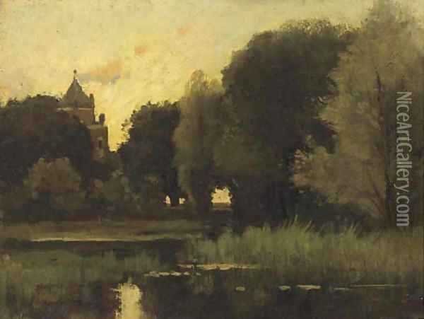 Castle Doorwerth seen from the grounds Oil Painting - Theophile Emile Achille De Bock